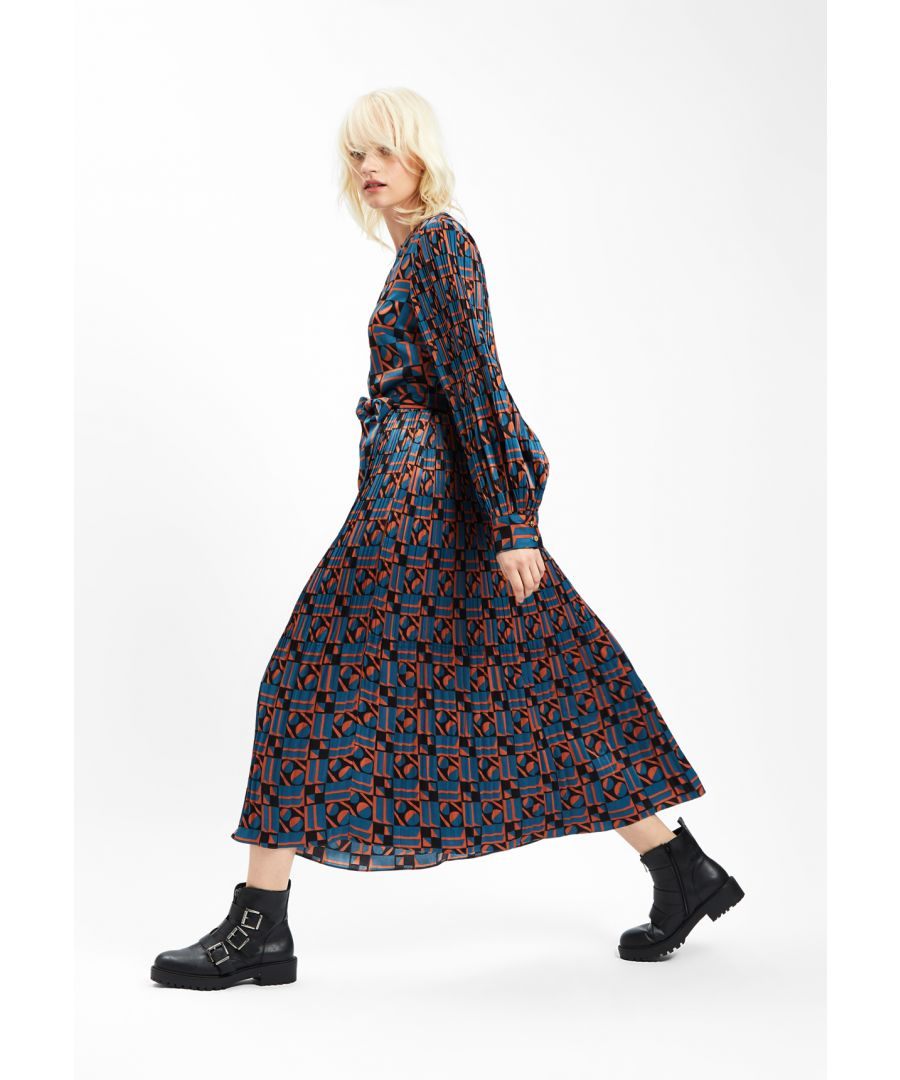 Image for Falls and Rises Pleated Maxi Dress in Geometric Blue and Rust Red