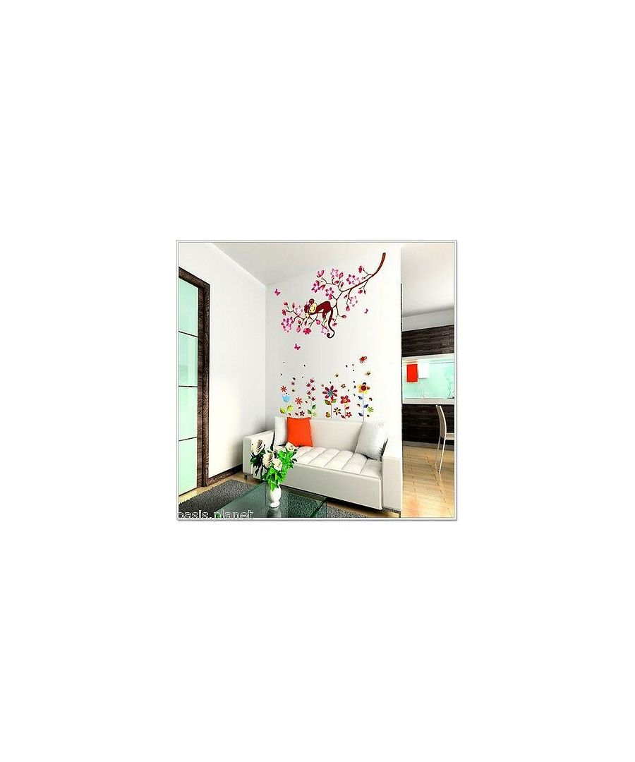 Image for Colourful Flower + Pink Monkey , Peel and Stick, self-adhesive, Living Room Wall Sticker