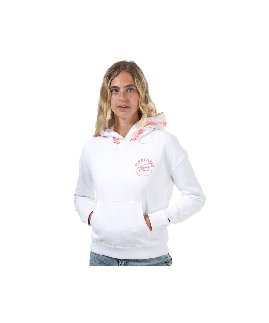 Image for Women's Tommy Hilfiger Repeat Logo Tape Organic Cotton Hoody in White