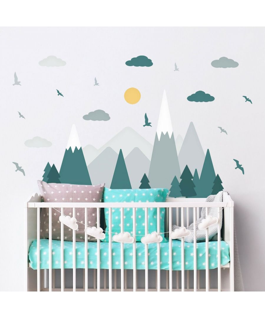 Image for Colourful Mountain Landscape Wall Stickers - Green + Grey, Self Adhesive, DIY, Decoration, Kids Room, Nursery, Children's room, Boy, Girl