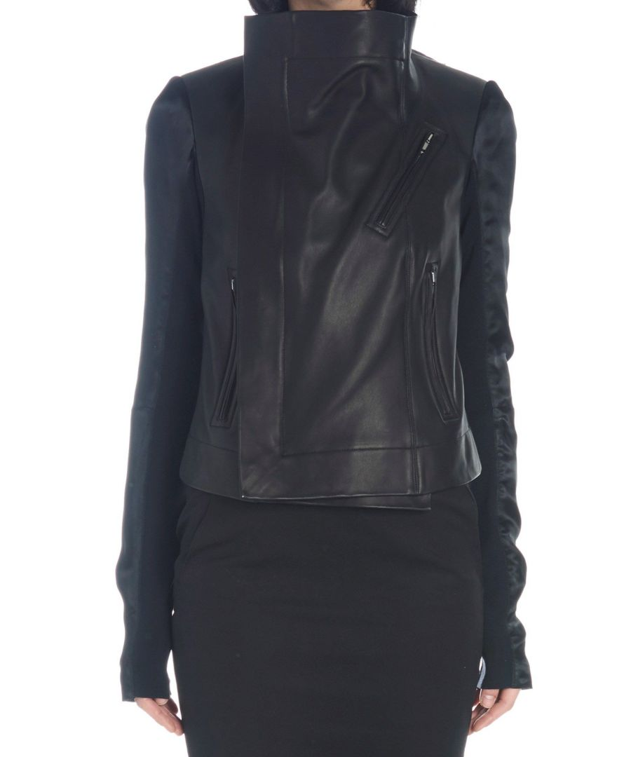 Image for RICK OWENS WOMEN'S RP19S6723LCOM11096134 BLACK LEATHER OUTERWEAR JACKET