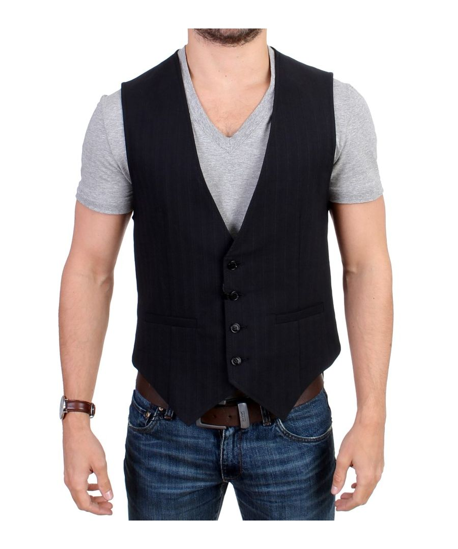Image for Costume National Black striped cotton casual vest