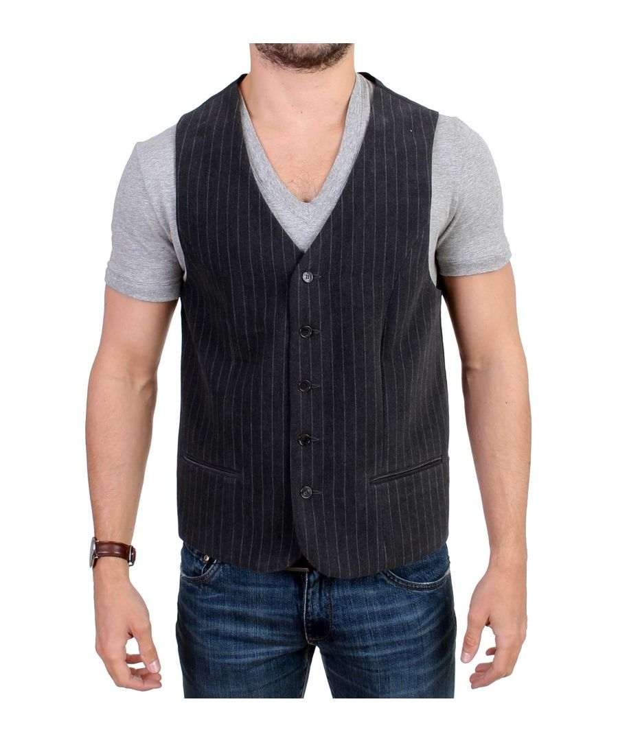 Image for Costume National Gray striped cotton casual vest