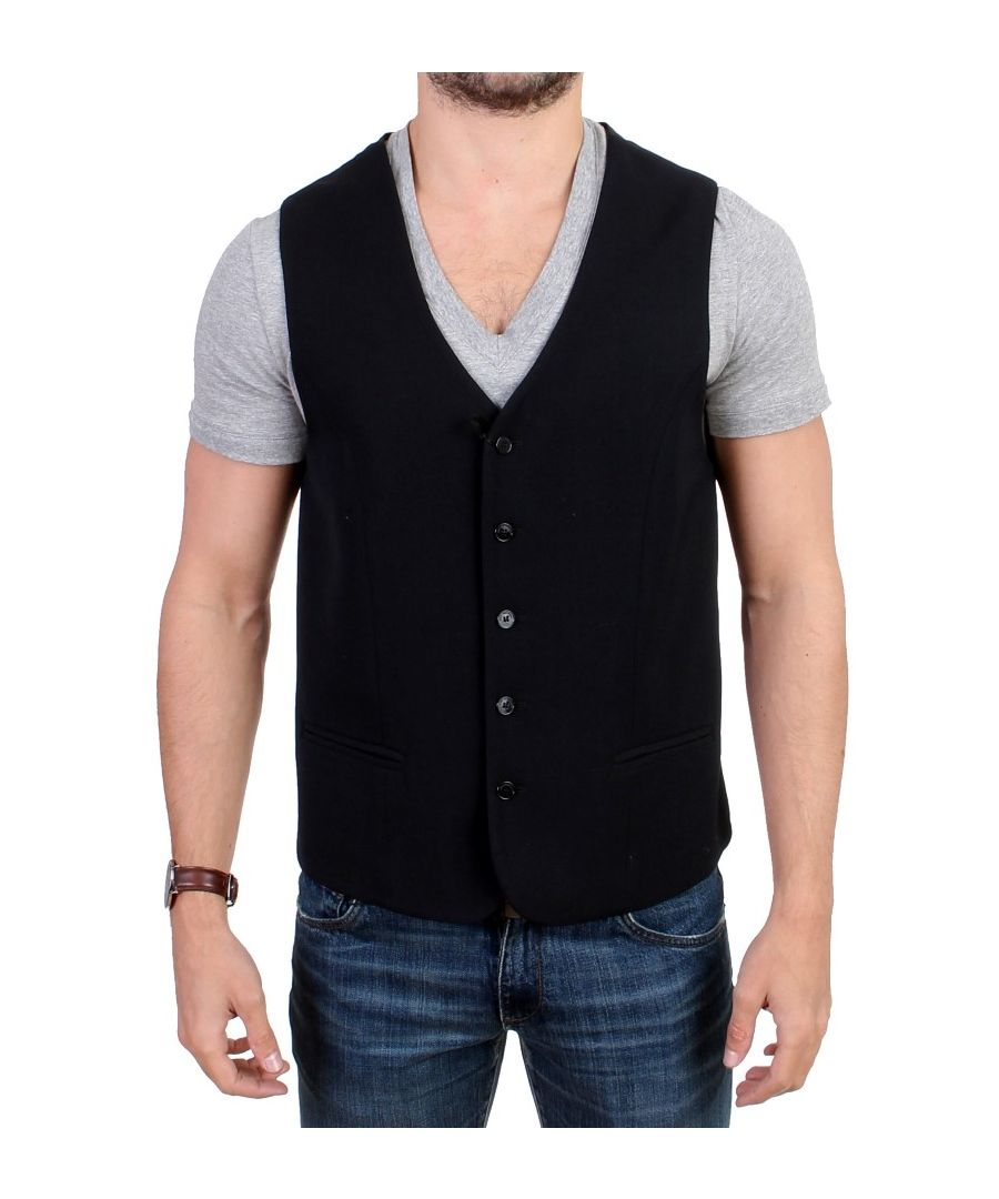 Image for Costume National Black wool blend casual vest