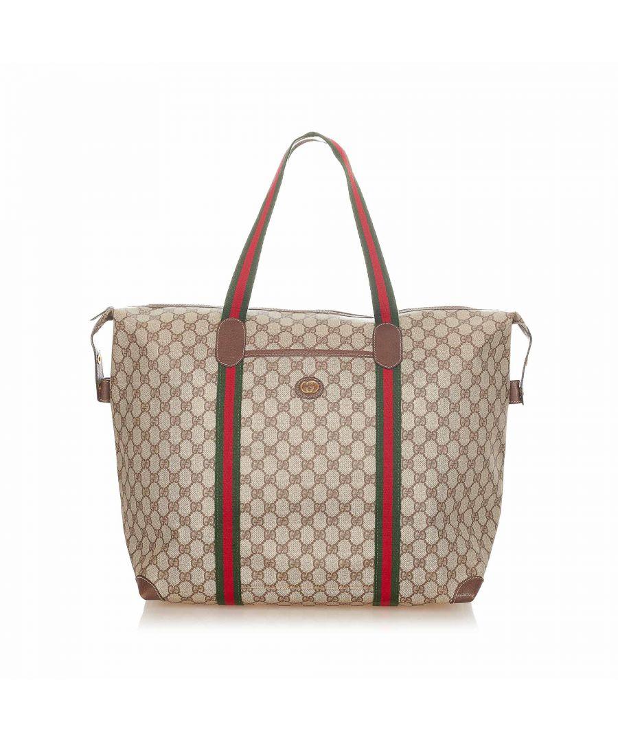 Image for Vintage Gucci GG Supreme Web Travel Bag Brown