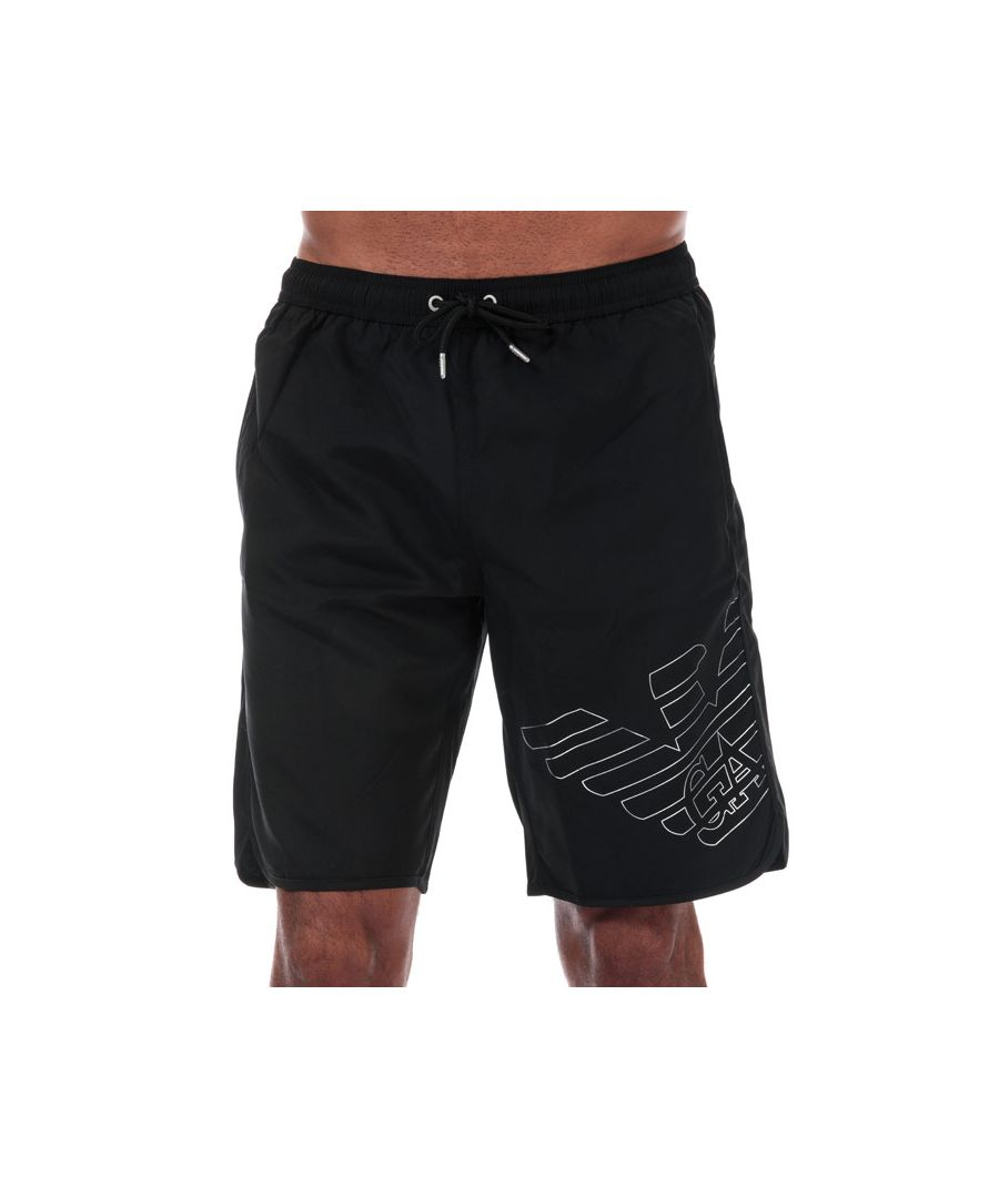 Image for Men's Armani Silver Eagle Board Shorts in Black
