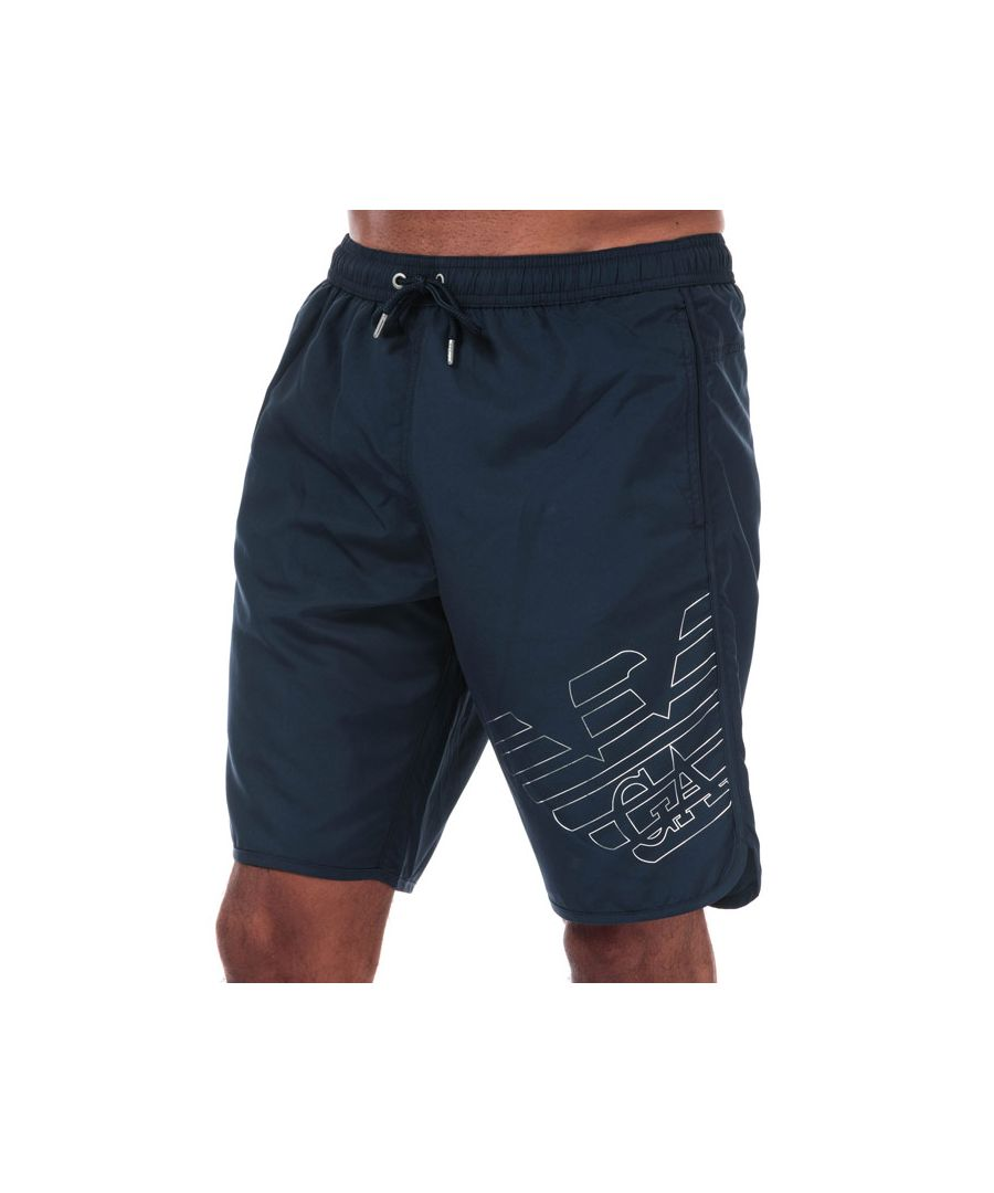 Image for Men's Armani Silver Eagle Board Shorts in Navy