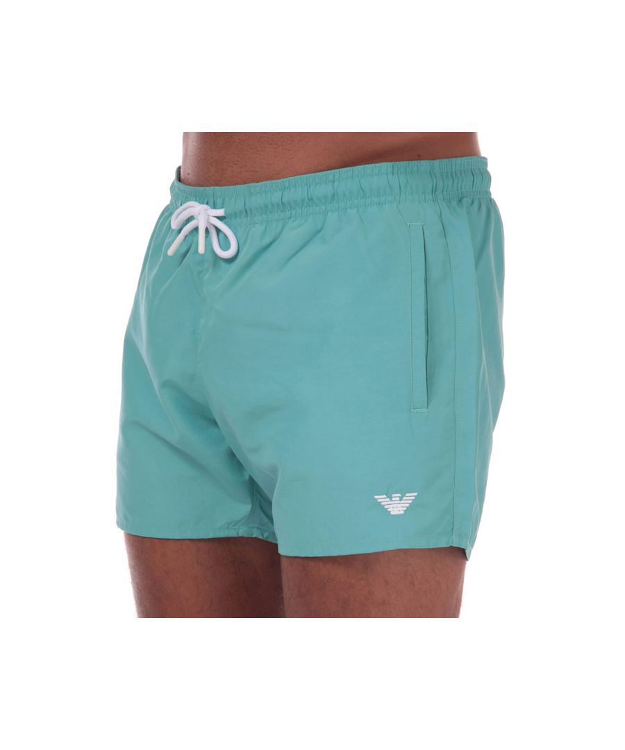 Image for Men's Armani Embroidered Logo Swim Shorts in Turquoise