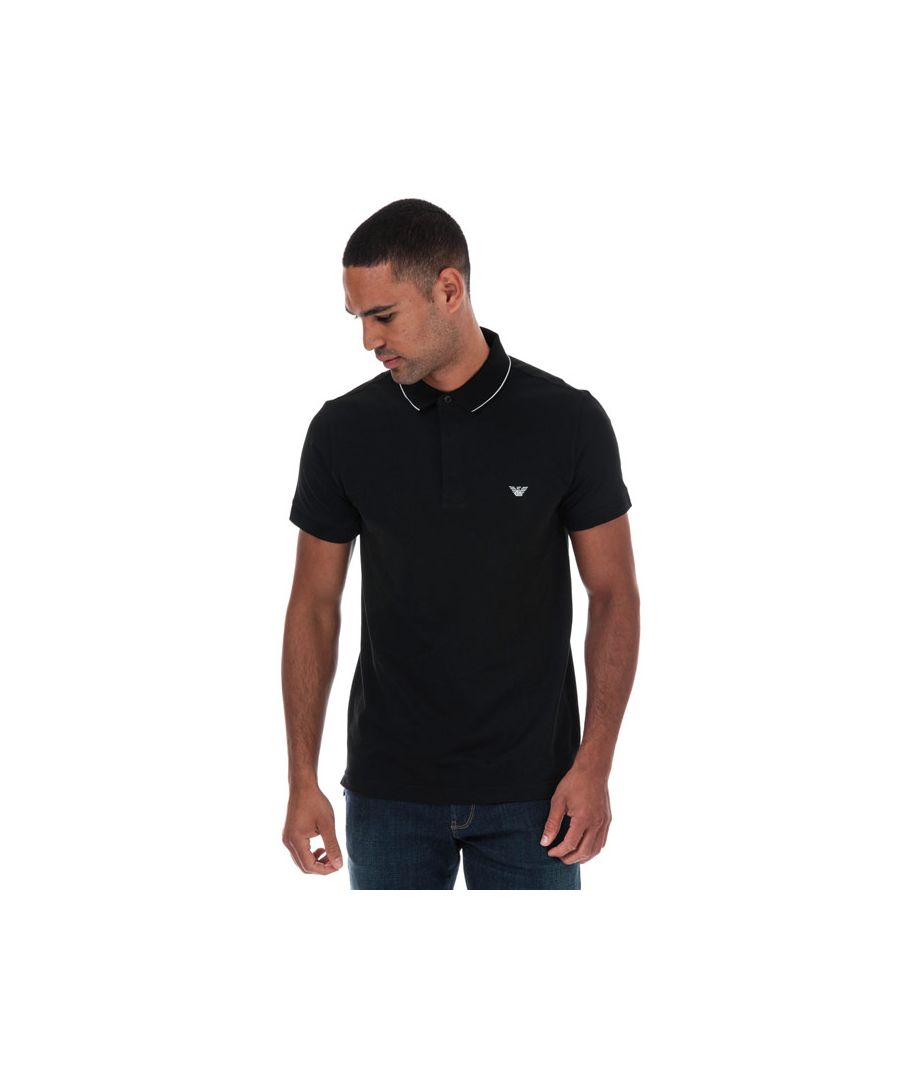 Image for Men's Armani Tipped Pique Polo Shirt in Black