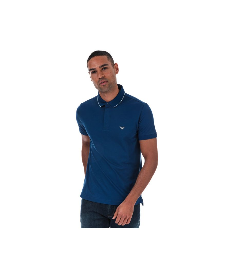 Image for Men's Armani Tipped Pique Polo Shirt in Blue