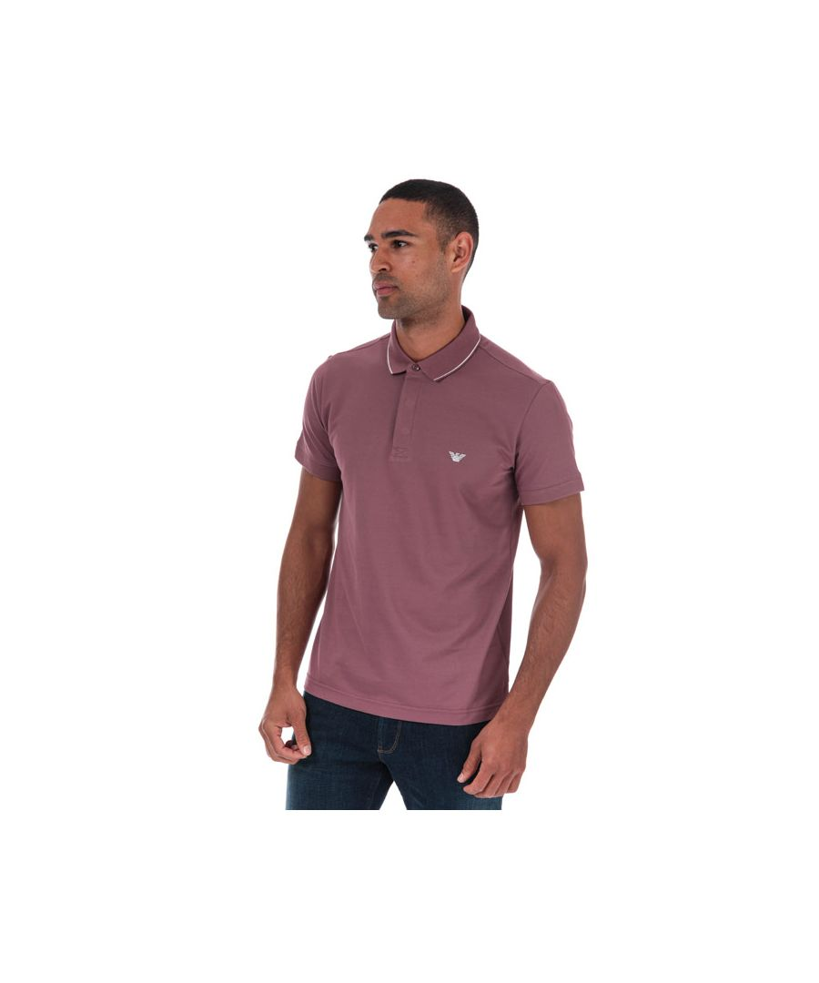 Image for Men's Armani Tipped Pique Polo Shirt in Plum