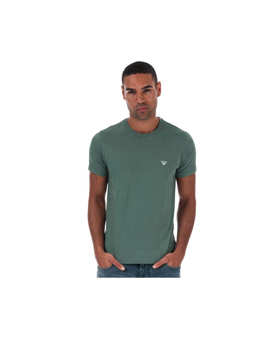 Image for Men's Armani Small Logo T-Shirt in Green
