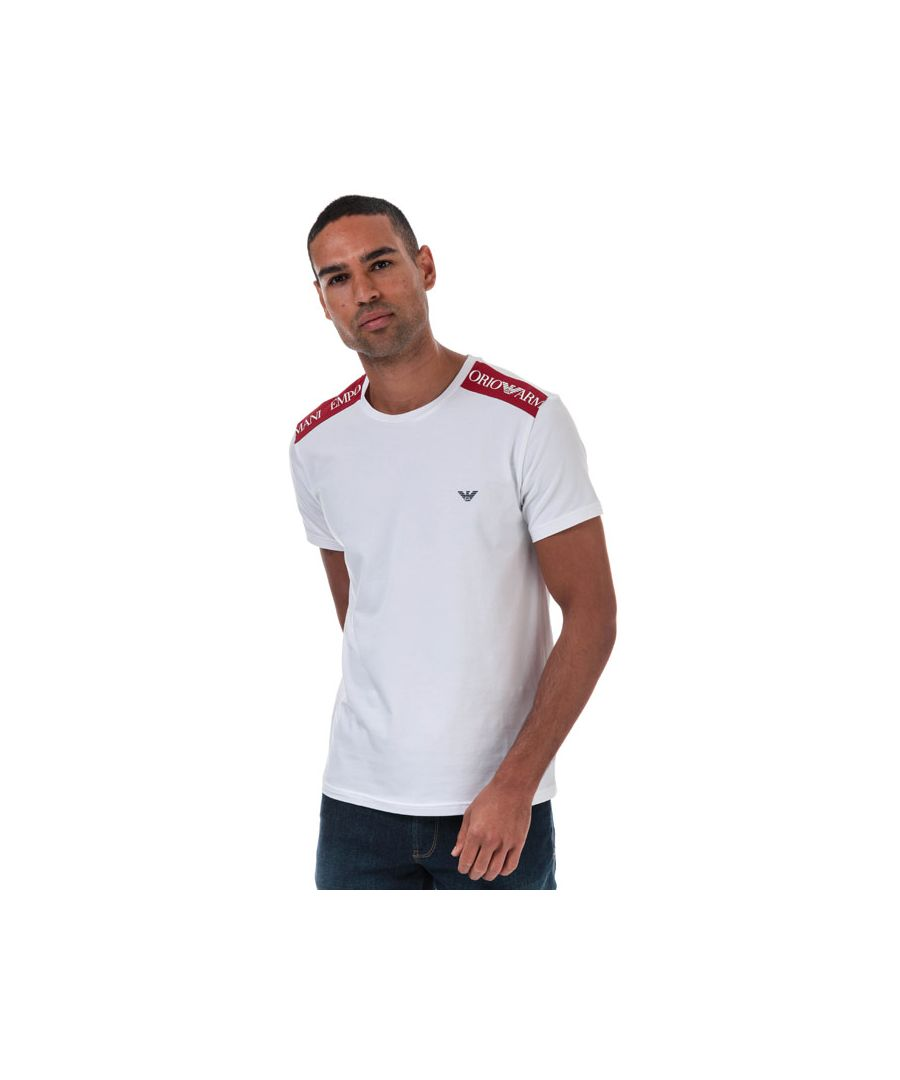 Image for Men's Armani Logo Tape T-Shirt in White