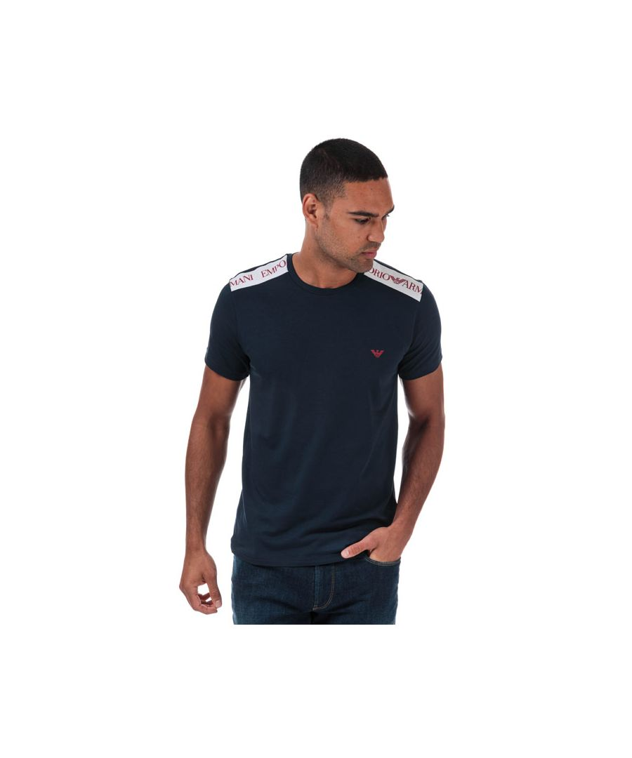 Image for Men's Armani Logo Tape T-Shirt in Navy