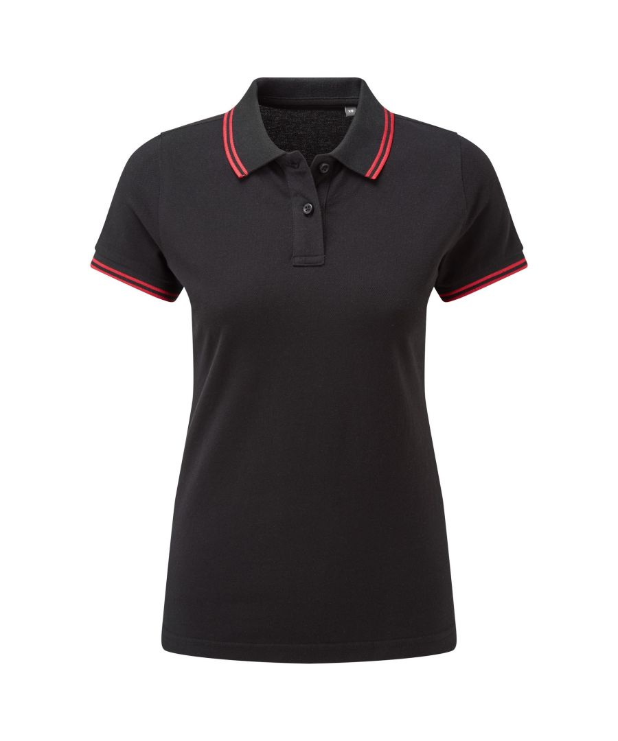 Image for Asquith & Fox Womens/Ladies Classic Fit Tipped Polo (Black/Red)