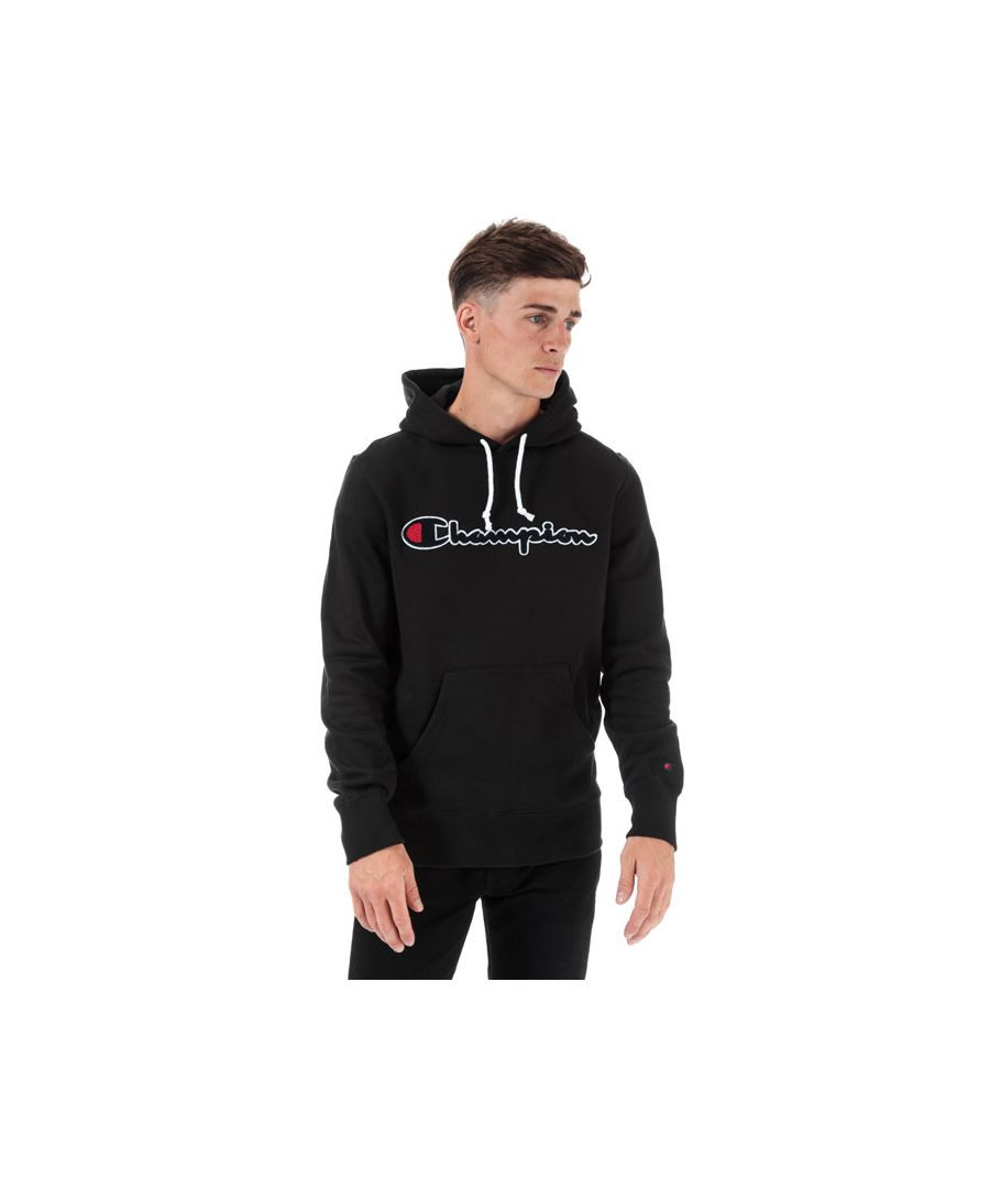Image for Men's Champion Large Logo Hoody in Black