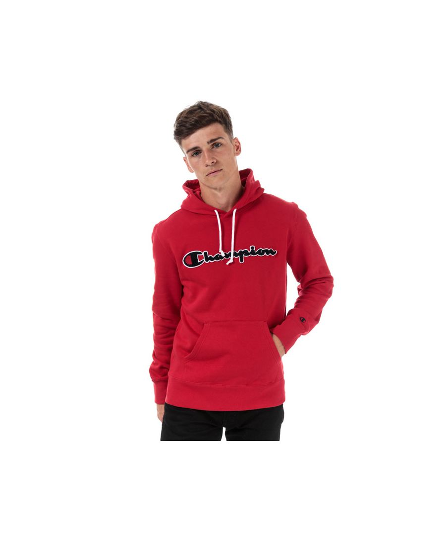 Image for Men's Champion Large Logo Hoody in Red