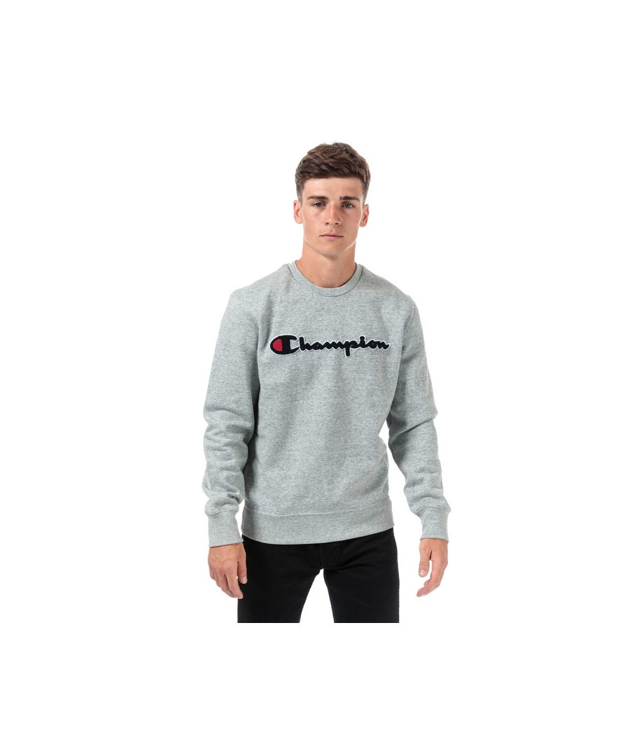Image for Men's Champion Large Logo Sweatshirt in Grey