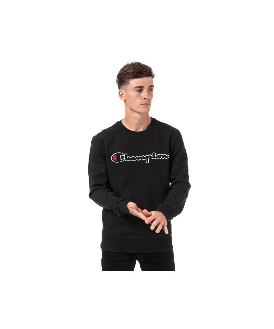 Image for Men's Champion Large Logo Sweatshirt in Black