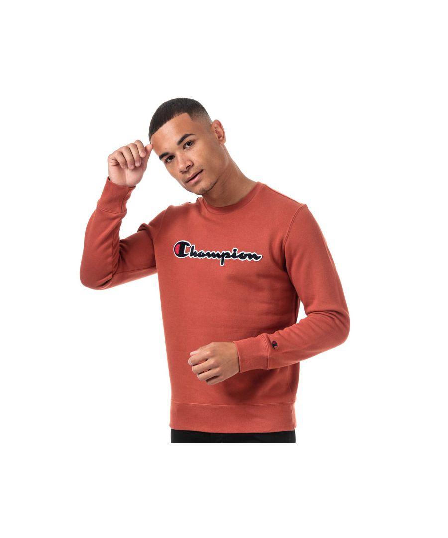 Image for Men's Champion Large Logo Sweatshirt in Orange