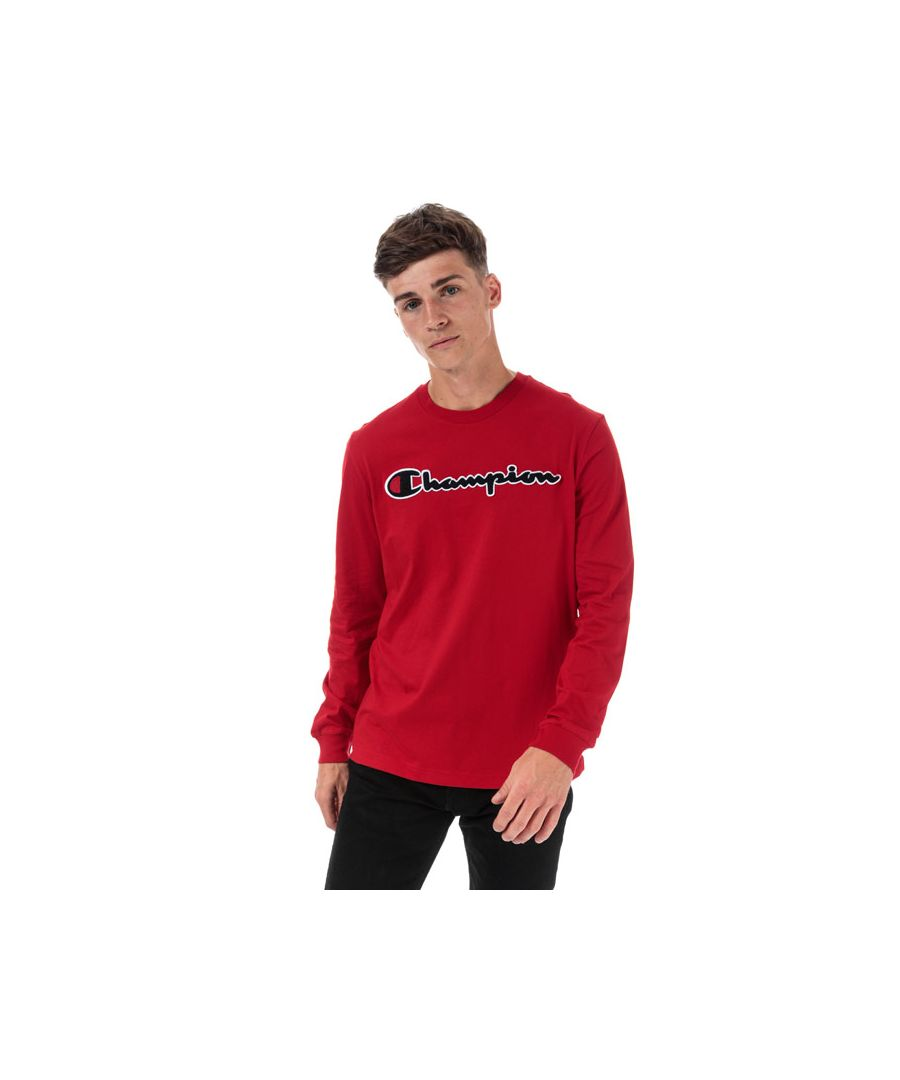 Image for Men's Champion Large Logo Long Sleeve T-Shirt in Red