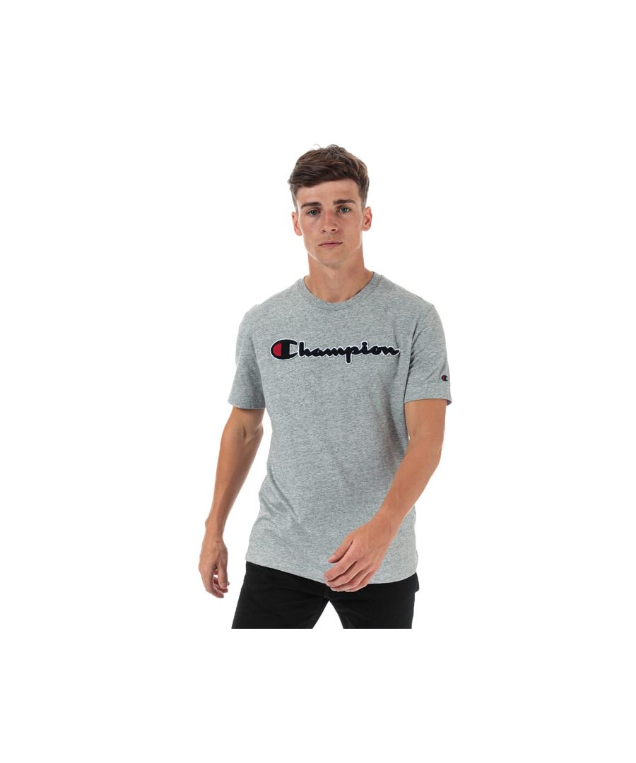 Image for Men's Champion Large Logo T-Shirt in Grey