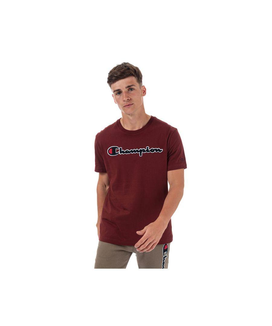 Image for Men's Champion Large Logo T-Shirt in Burgundy