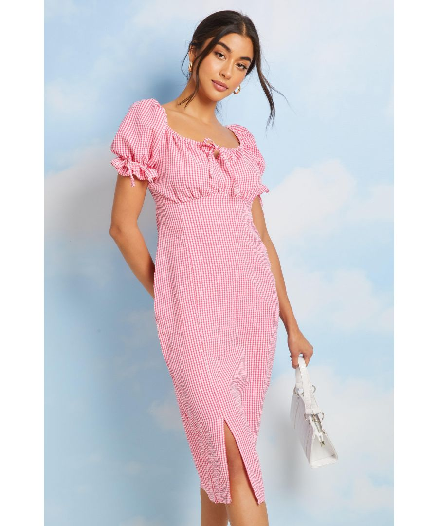 Image for Pink Gingham Puff Sleeve Midi Dress