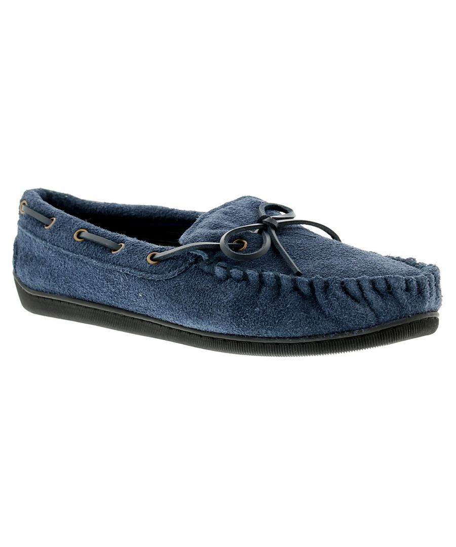Image for New Mens/Gents Navy Leather Suede Moccasin Slippers