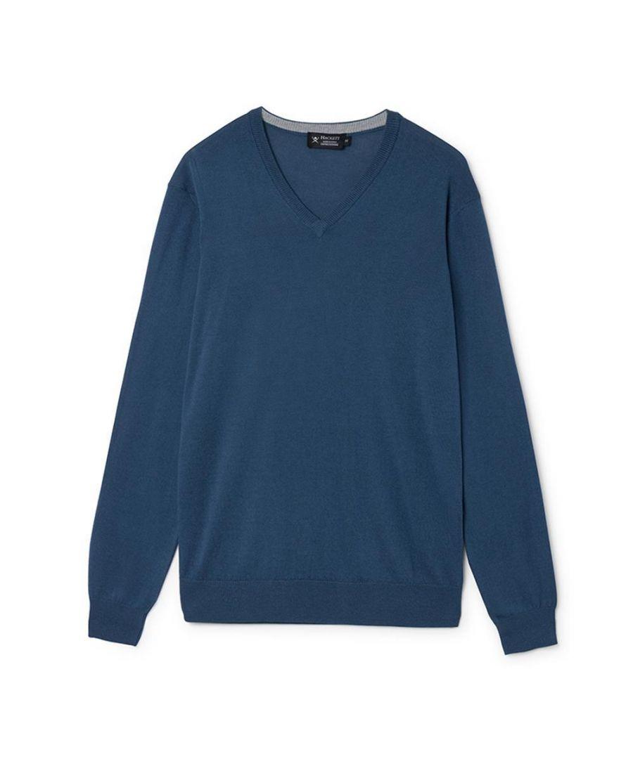 Image for Men's Hackett, Cotton & Cashmere V Neck Sweater in Azure Blue
