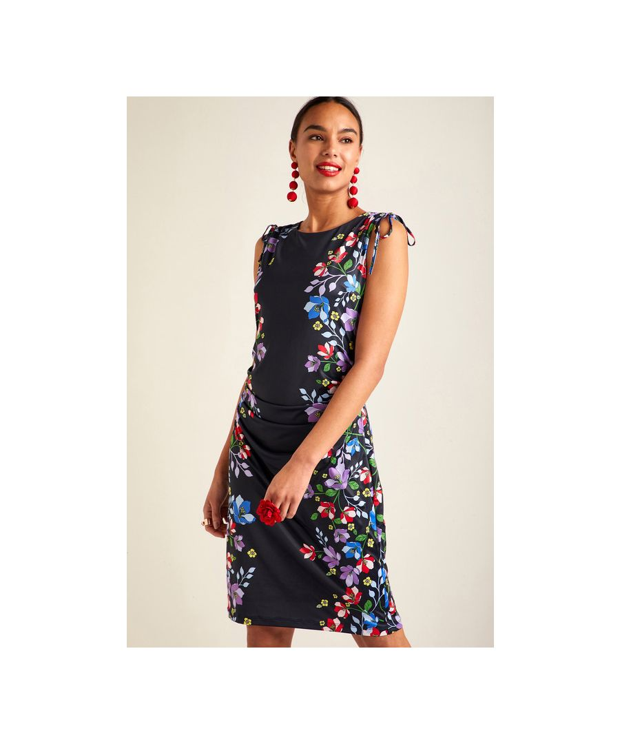 Image for Black Floral Border Sleeveless Bodycon Dress
