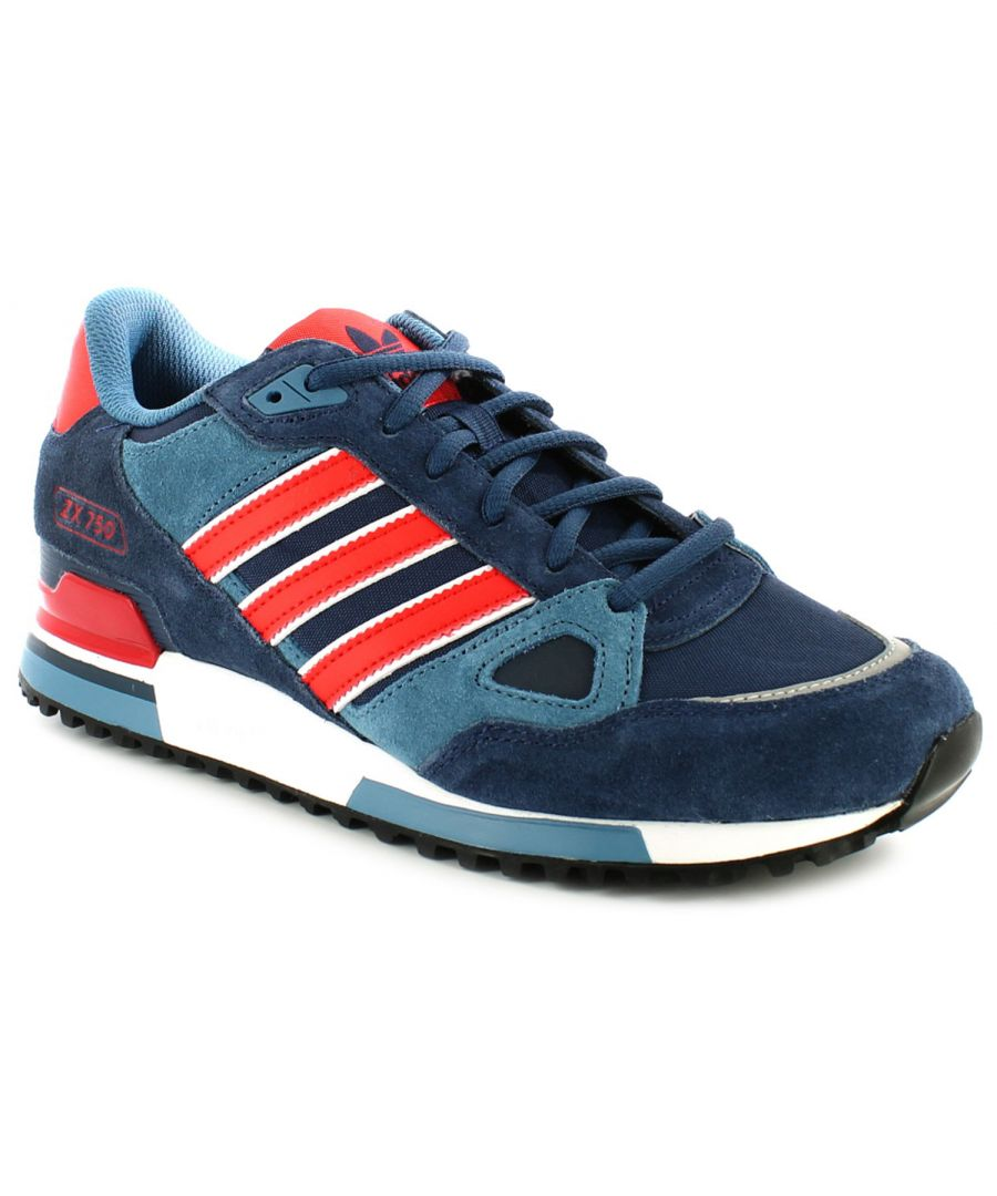 Image for New Mens/Gents Navy/Poppy Adidas Leather Lightweight Running Shoes