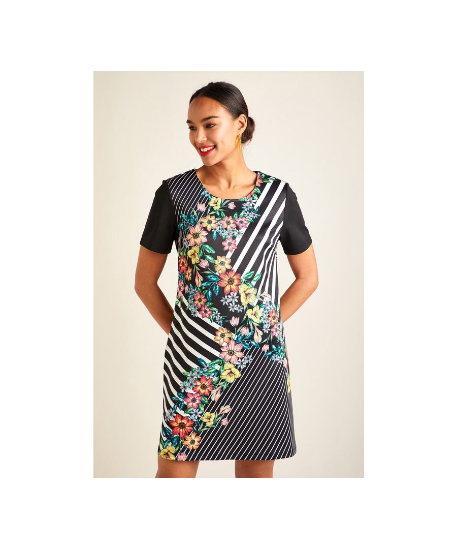 Image for Black Floral Stripe Tunic Dress