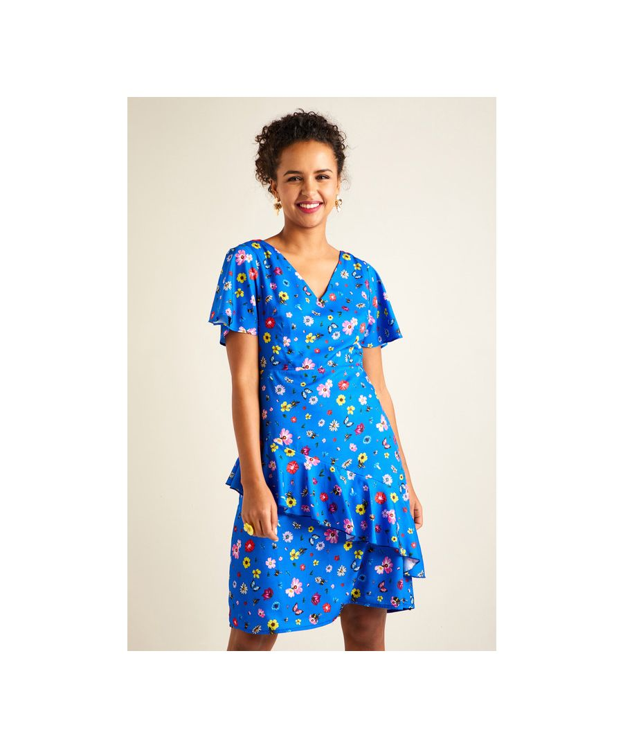 Image for Blue Disty Floral Print Tea Dress