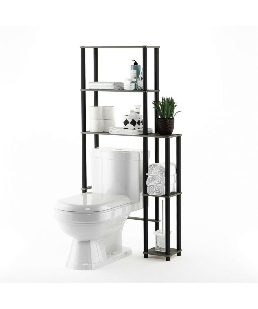 Image for Furinno Turn-N-Tube Toilet Space Saver with 5 Shelves, French Oak Grey/Black