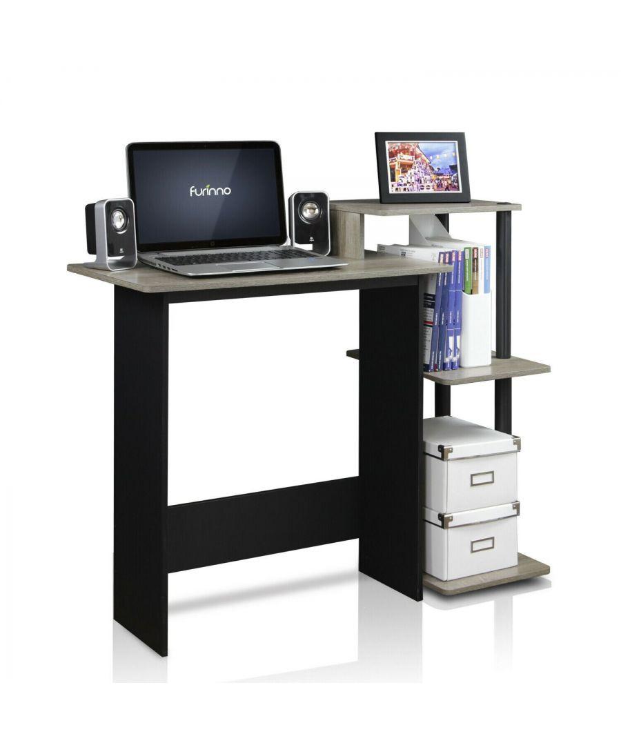 Image for Furinno Efficient Home Laptop Notebook Computer Desk, Oak Grey/Black