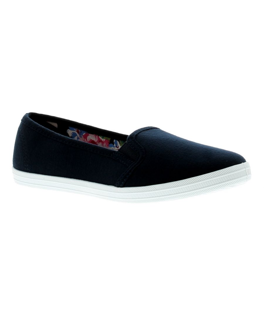 Image for New Ladies/Womens Navy Slip Ons Elasicated Gusset Canvas Pumps.