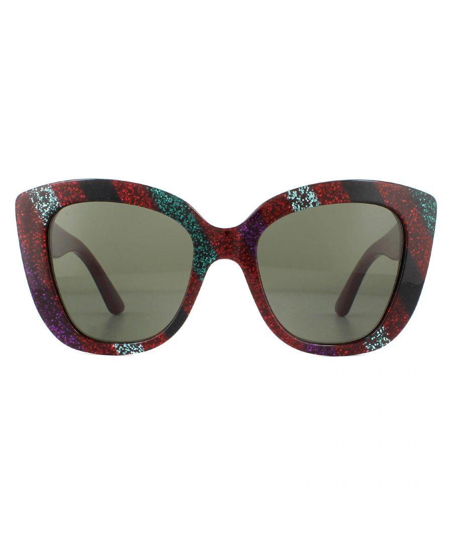 Image for Gucci Sunglasses GG0327S 005 Red Multicolour Glitter Grey