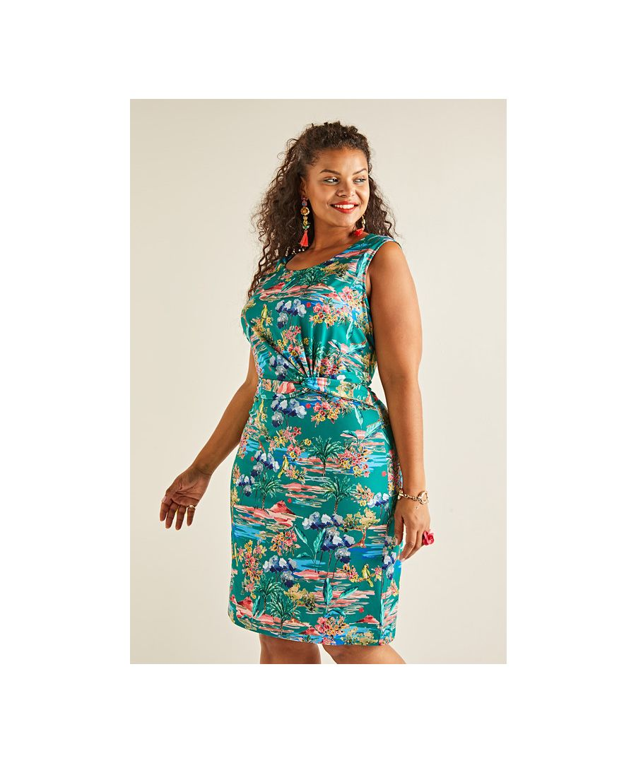 Image for Green Yumi Curves Floral Print Jersey Dress