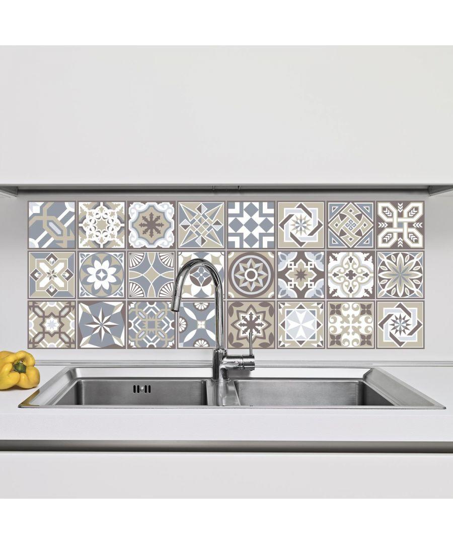 Image for Limestone Spanish Tiles Wall Stickers - 10 cm x 10 cm - 24 pcs. Tiles Wall Stickers, Kitchen, Bathroom, Living room