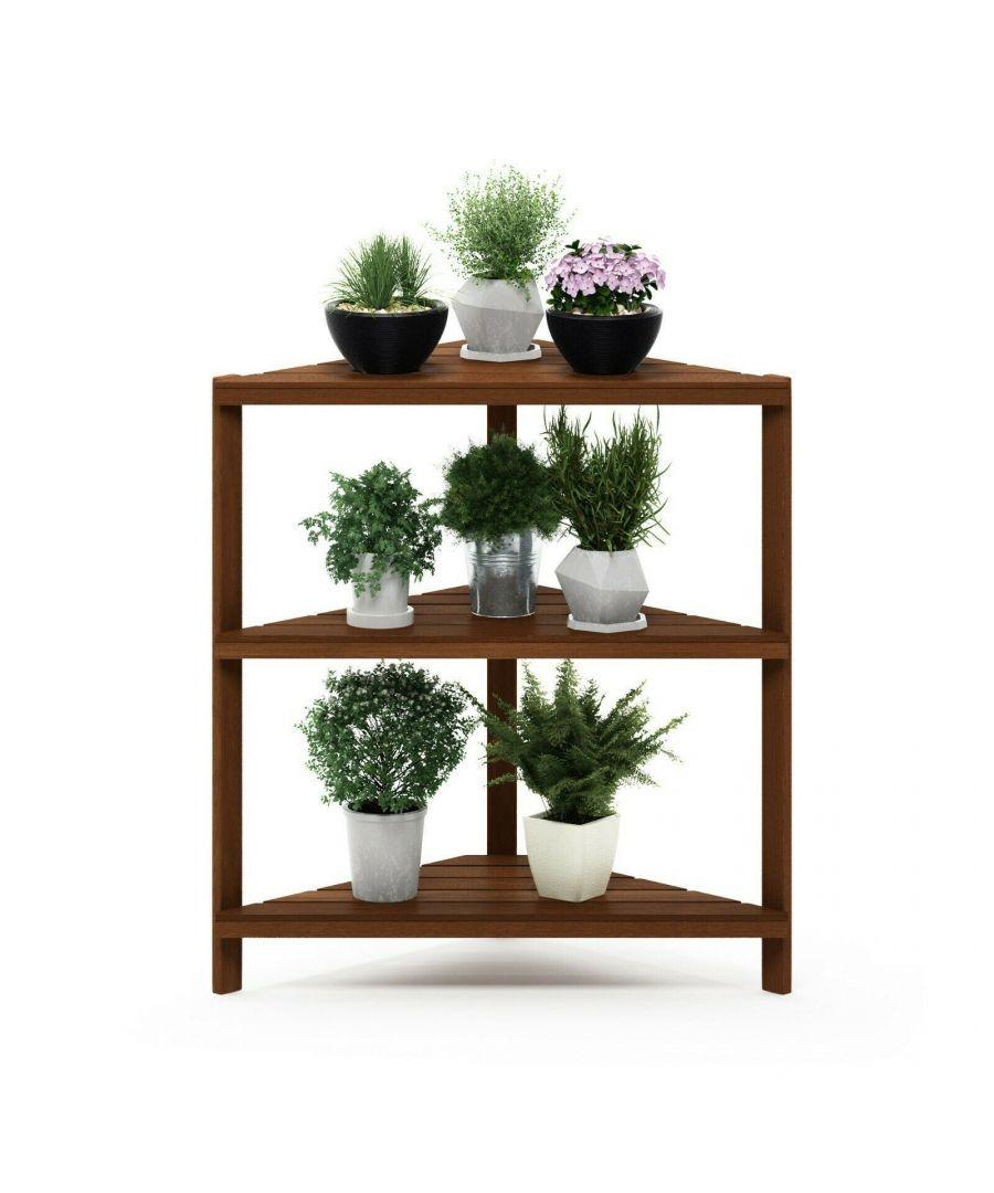Image for Furinno Tioman Hardwood 3-Tier Corner Shelf in Teak Oil, Natural, Garden furniture, Outdoor furniture