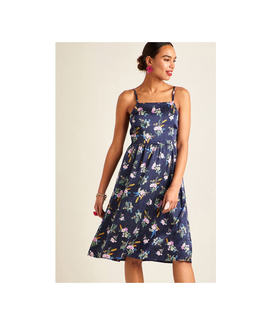 Image for Navy Floral On Spot Strap Dress
