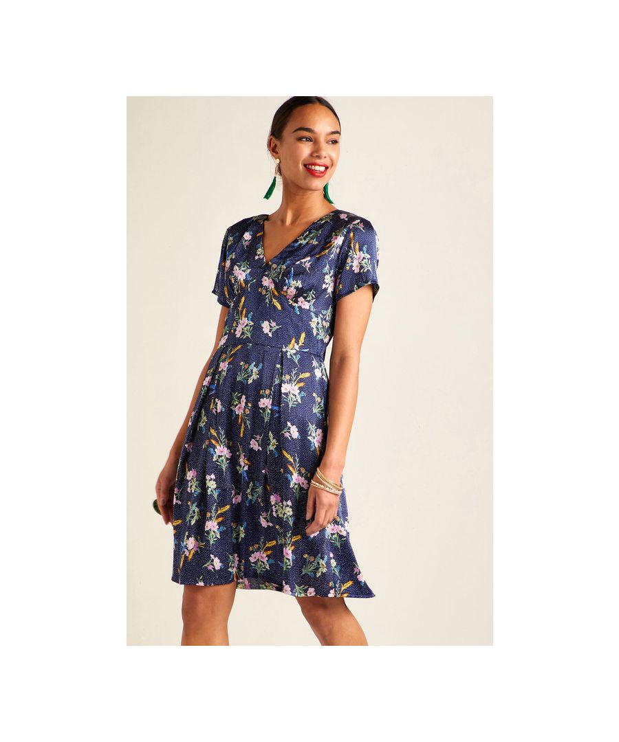 Image for Navy Floral On Spot Tea Dress