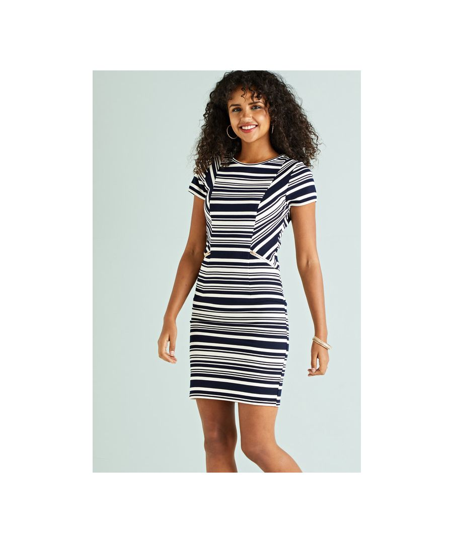 Image for Navy Stripe Bodycon Dress With Zip Pocket