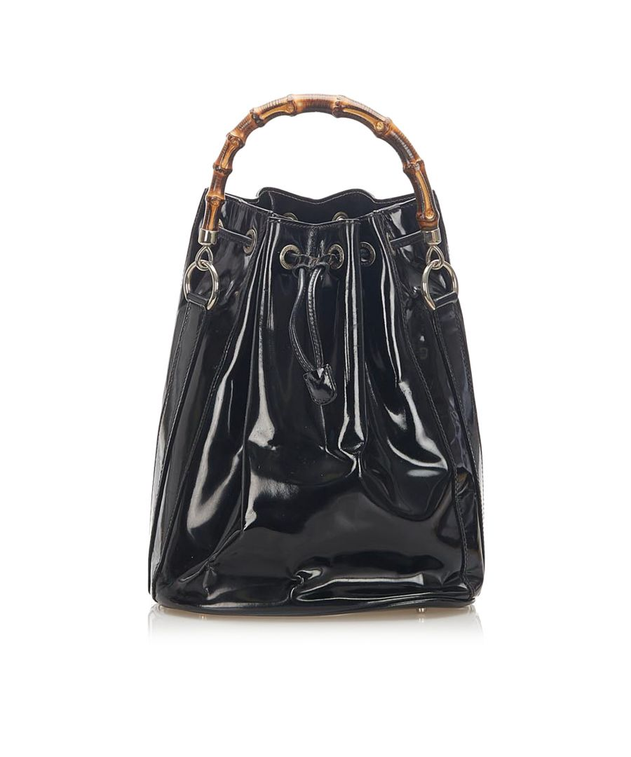 Image for Vintage Gucci Bamboo Patent Leather Bucket Bag Black