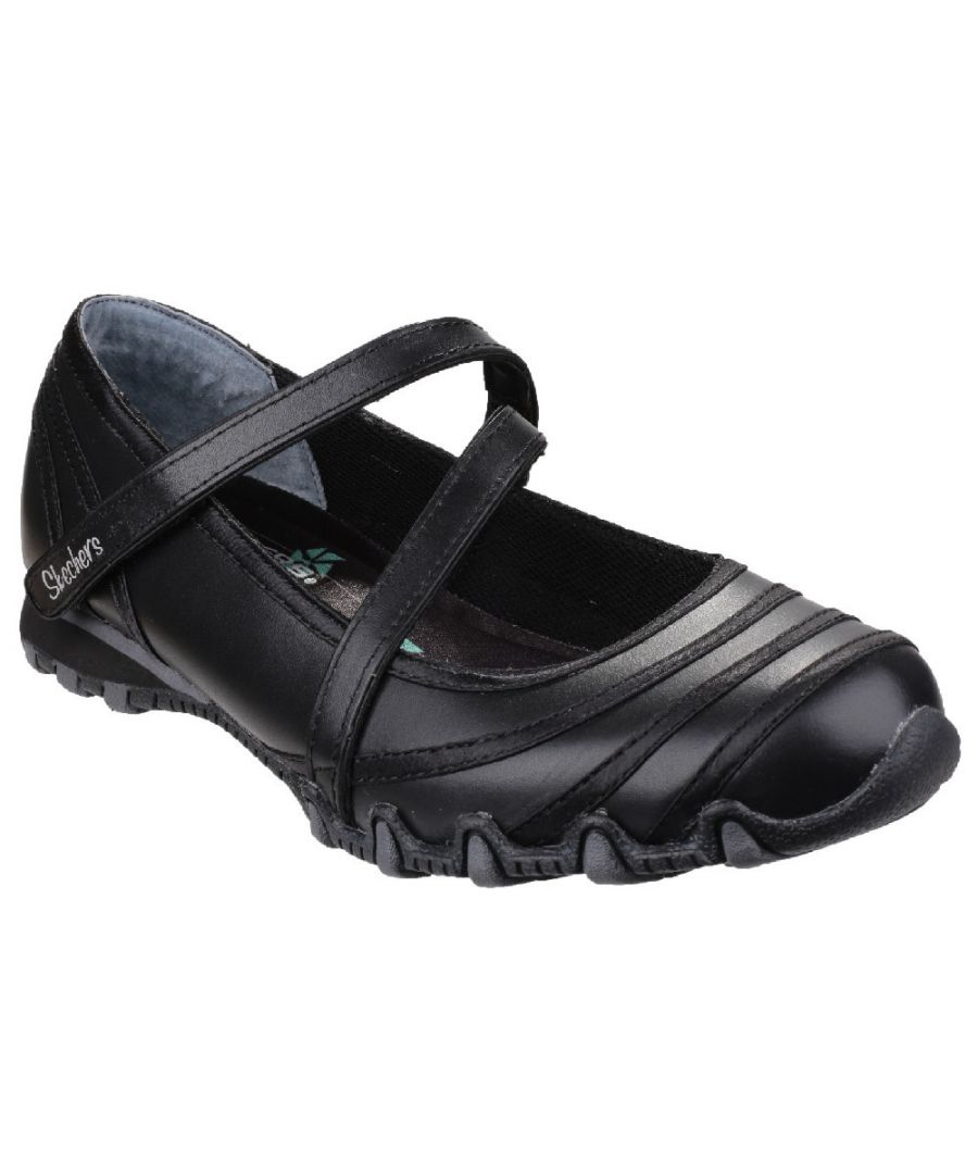 Image for Skechers Ladies Bikers Satin Shine Casual Leather Mary Jane Shoe Black