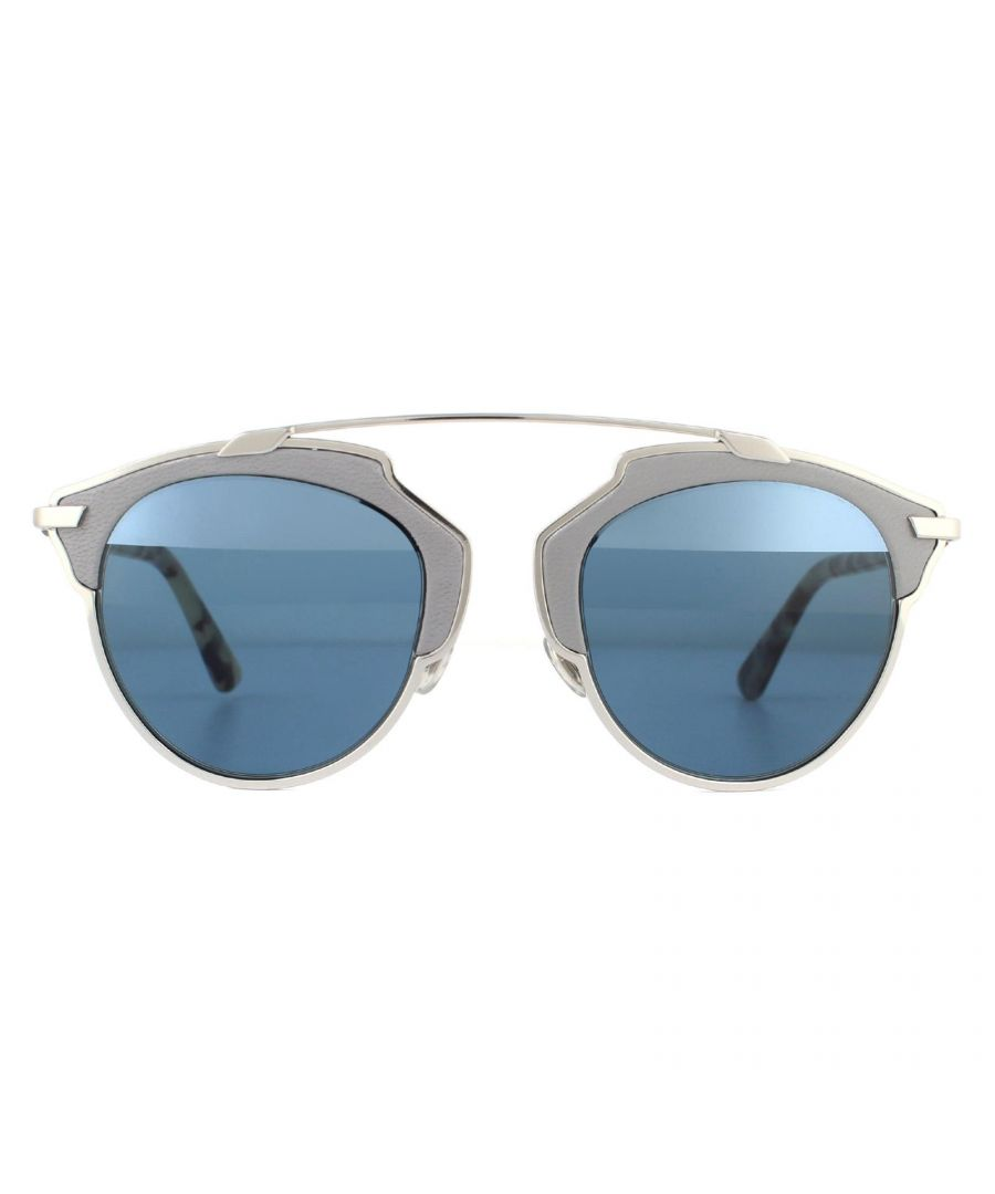 Image for Dior Sunglasses Dior So Real L P7Q 8N Silver w Grey Leather Grey Havana Light Blue Linear Mirror