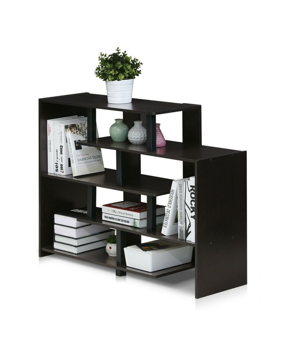 Image for Furinno Turn-N-Tube 5-Tier Storage Shelf - Espresso/Black