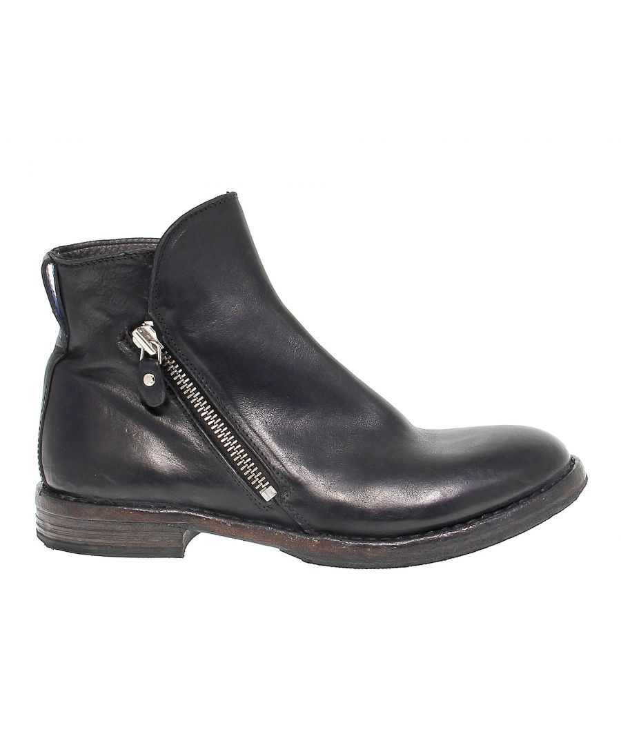 Image for MOMA MEN'S 56802 BLACK LEATHER ANKLE BOOTS