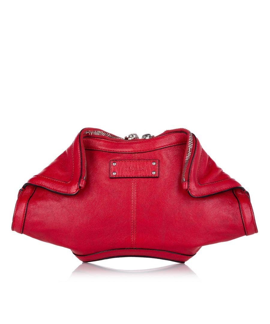 Image for Vintage Alexander McQueen De Manta Leather Clutch Bag Red